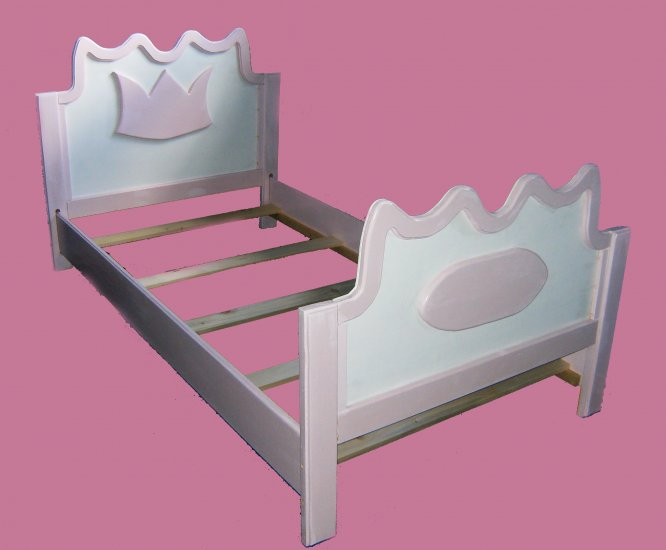 New Wooden Pink & White PRINCESS TWIN BED w/ Name Plate & Crown