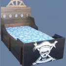 New Custom Pirate Ship Twin Rustic Wooden Boat Bed w/ Skull & Crossbones