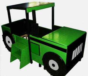 Tractor Bed Frame http://lestickdesigns.ecrater.com/p/3715879/tractor-toddler-bed-with-large-toy