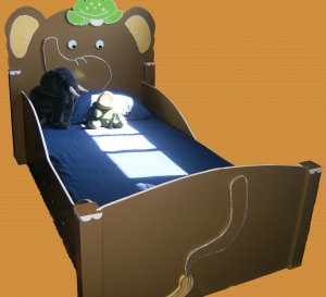 Wooden Elephant Safari Animal Toddler Bed