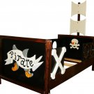 Wooden Pirate Ship Toddler Boat Bed with Acrylic Porthole Windows