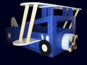New Custom Wooden Vintage Bi-Wing Airplane Toddler Bed