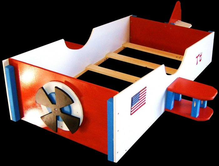 Vintage wooden airplane toddler bed with tail propeller for Airplane bed frame