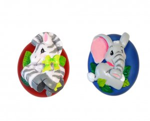 Set of Two Zootles Drawer Pulls with Zebra & Elephant Jungle Theme
