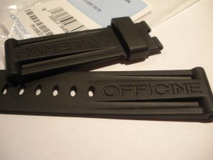 24mm Black Rubber Dive Strap Only for Officine Panerai Deployants