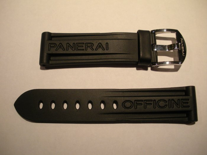 22mm Black Rubber Dive Strap w/ Buckle for 40mm Panerai
