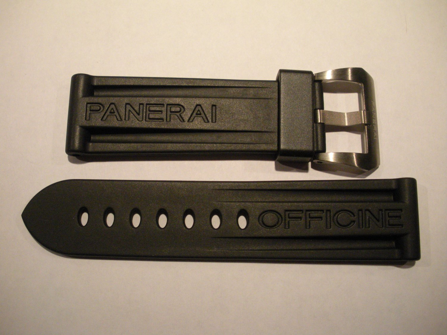 24mm Black Rubber Dive Strap w/ Titanium Buckle for Panerai