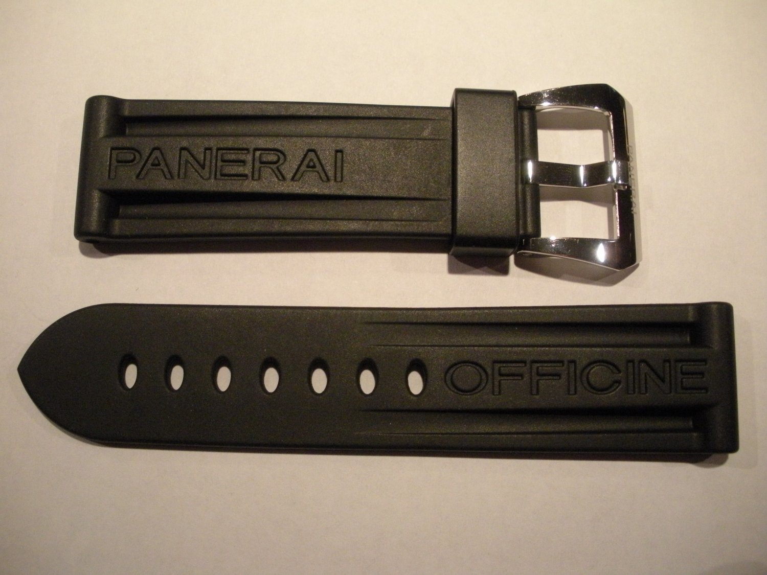 24mm Black Rubber Dive Strap w/ Polished Steel Buckle for Panerai