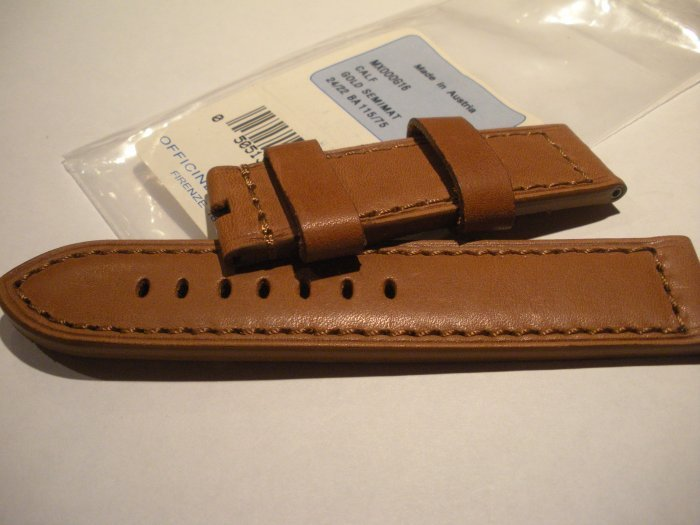 24mm Calf Brown Semimat Leather Strap only for Panerai