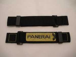 24mm Reverse Yellow/Black Nylon Velcro Dive Strap for Panerai 44mm