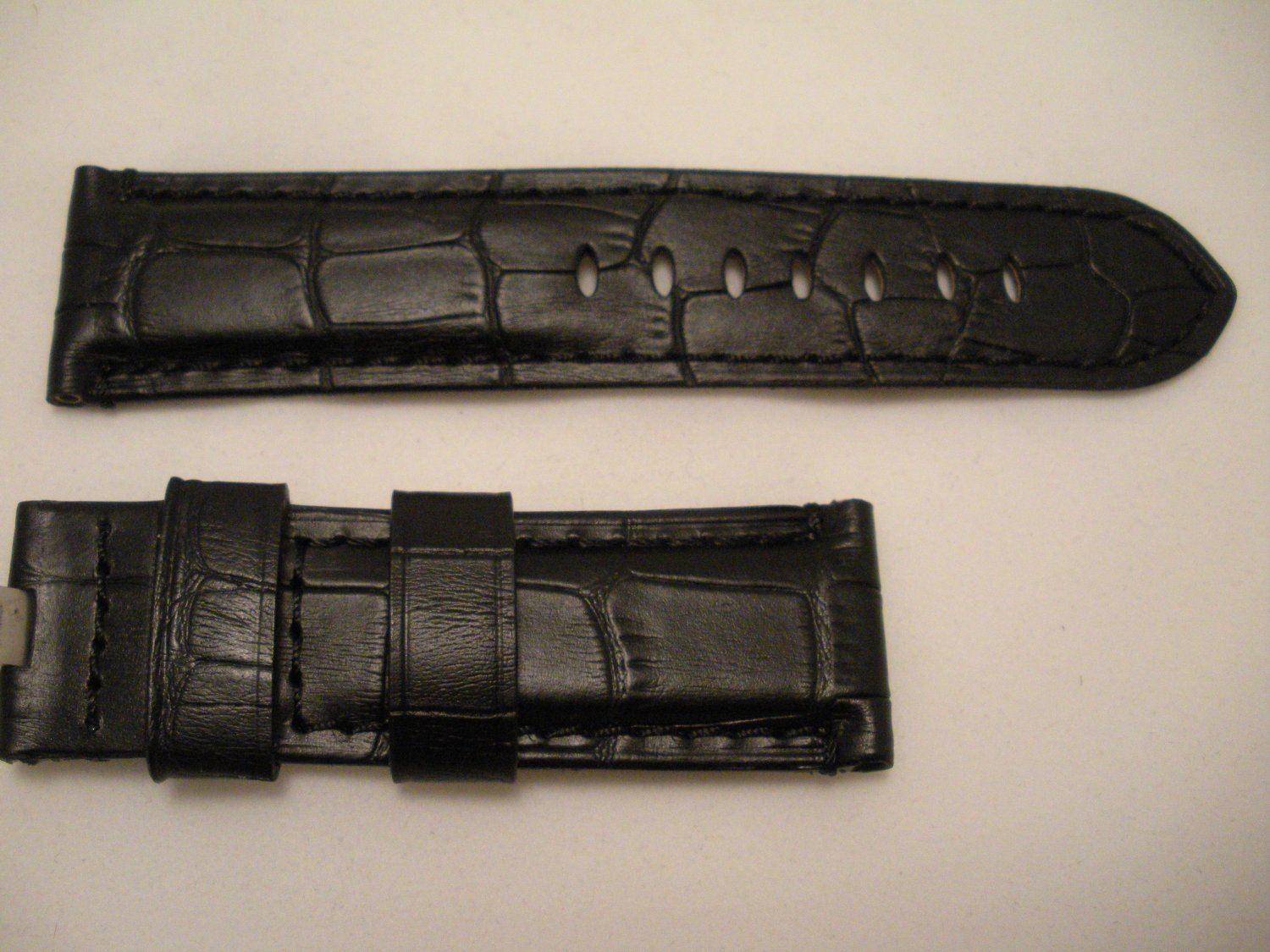 Black/Black Lining 24mm Leather Strap for Panerai