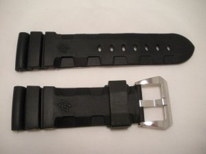 26mm Black Rubber Accordian Dive Strap w/ Buckle for 47mm Panerai