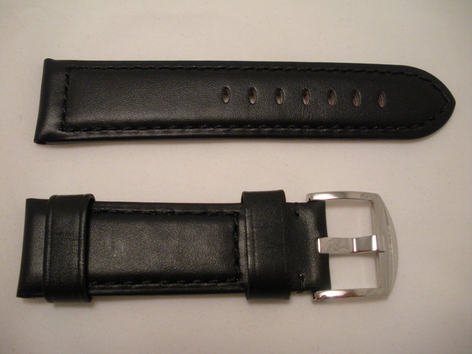 24mm Flat Black Leather Strap w/ Buckle for Panerai