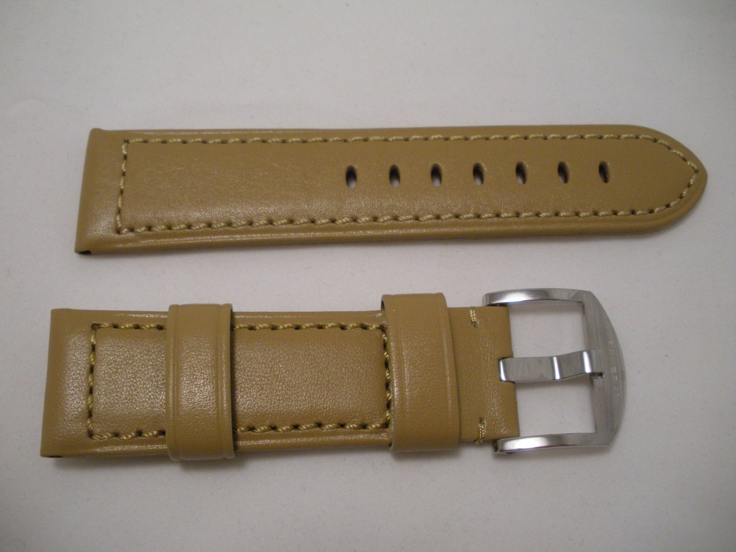 24mm Flat Tan Leather Strap w/ Buckle for Panerai