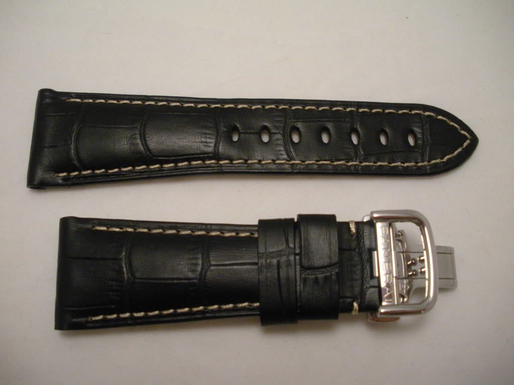 26mm Black Rugby Calf Leather Deployment Strap for Panerai Radiomir