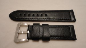 24mm Black Calf Semimat Leather Strap w/ Buckle for Panerai
