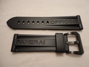 24mm Black Rubber Dive Strap w/ Black PVD Steel Buckle for Panerai