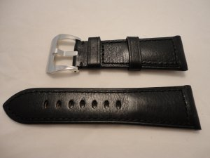 26mm Black Calf Semimat Leather Strap w/ Polished Buckle for 47mm Panerai