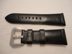 26mm Black Calf Semimat Leather Strap w/ Brushed Buckle for Panerai Radiomir