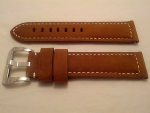24mm Assolutamente Brown Leather Strap w/ Polished PreV Buckle for Panerai
