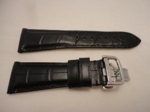 26mm Black/Black Rugby Calf Leather Deployment Strap for Panerai Radiomir