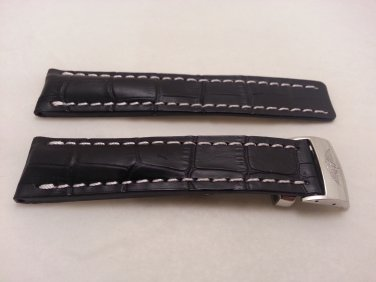 22mm Black Leather/White Stitch Strap w/ Clasp for Breitling