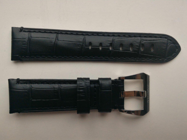 22mm Black Leather Strap w/ PreV Buckle for Panerai
