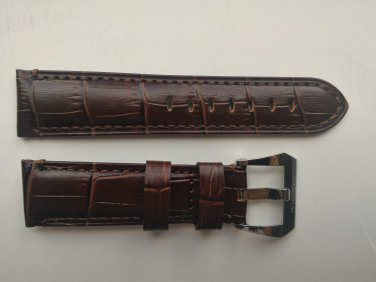 22mm Dark Brown Leather Strap w/ PreV Buckle for Panerai