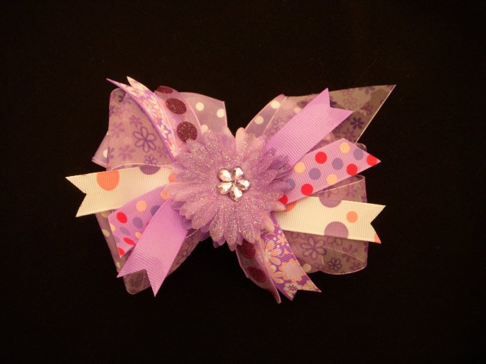 """Large Purple/White """"Sassy"""" Bow with Flower/Crystal Center"""