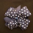 "Med. Navy/White Polka Dot Layered ""Side by Side"" Bow"