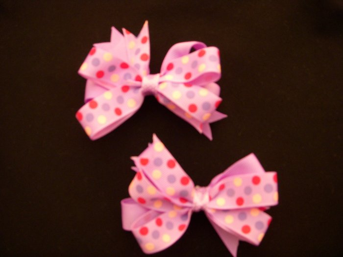 Purple/Purple Polka Dot Small Pigtail Bows (Set of 2)