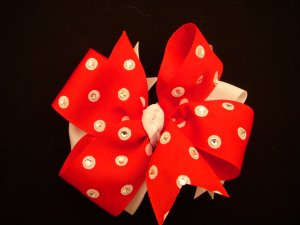"Med. Red/White Polka Dot Layered ""Side by Side"" Bow w/Swarovski Crystal Embellishments"