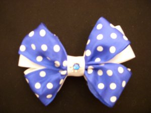 Med. Cobalt Blue/White Polka Dot Layered Bow w/out Tails, with Swarovski Crystal Flower Center