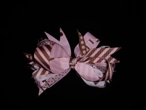 "Med. Baby Pink/Chocolate ""Sassy"" Bow"