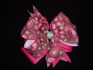 Med. Pink/Light Brown Paisley Layered Side by Side Bow