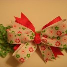 Small Pink/Green/White Layered Side by Side Baby Bow on Headband