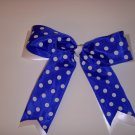 Large Blueberry/White Polka Dot Layered Jenny Bow