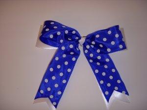 Large Blueberry/White Polka Dot Layered Jenny Bow
