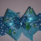 "Med. Turquoise ""Sassy"" Bow with Butterfly Embellishment on Headband"