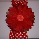 Large Cherry Red Glitter Single Layer Flower on Headband