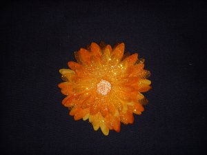 Med. Tangerine Glitter Double Layer Flower Clip