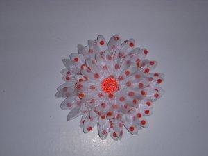 Med. White/Cherry Red Polka Dot Double Layer Flower Clip