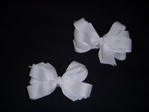 Small White Layered Side by Side Layered Pigtail Bows (Set of 2)