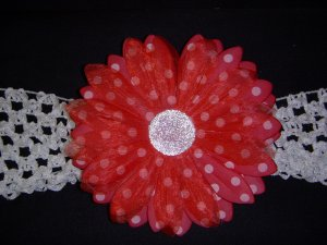 Large Cherry Red/White Polka Dot Single Layer Flower on Headband