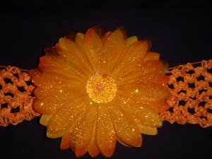 Large Tangerine Glitter Single Layer Flower on Headband