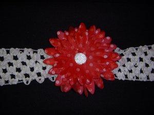 Med. Cherry Red/White Polka Dot Double Layer Flower on Headband
