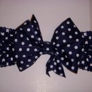 "Small Navy/White Polka Dot Single Layer ""Side by Side"" Bow on Headband"