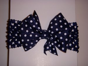 """Small Navy/White Polka Dot Single Layer """"Side by Side"""" Bow on Headband"""