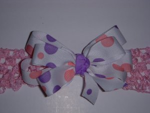 Small White/Baby Pink/Lavender Polka Dot Layered Side by Side Bow on Headband