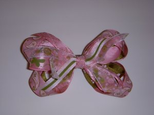 Medium Dusty Rose/Moss Green Butterfly/Layered Side by Side Sassy Bow